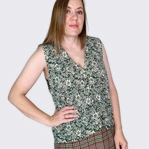 Anthropologie Green Floral Pearl Button Wool Vest